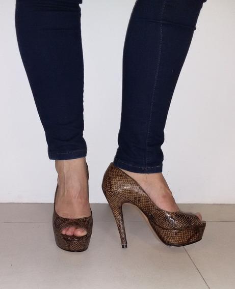 *zapatos Plataformas De Reptil Color Marron Y Negro*