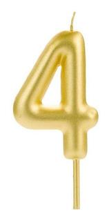 Número 4 - Vela Cromada Metalizada Dourada Para Bolo