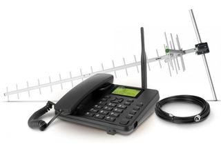 Kit Telefone Celular Fixo + Antena Gsm Cfa 5022 Preto