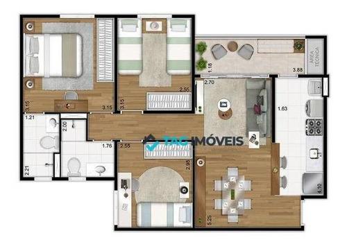 Apartamento Com 3 Dormitórios À Venda, 71 M² Por R$ 520.000,00 - Parque Rural Fazenda Santa Cândida - Campinas/sp - Ap2297