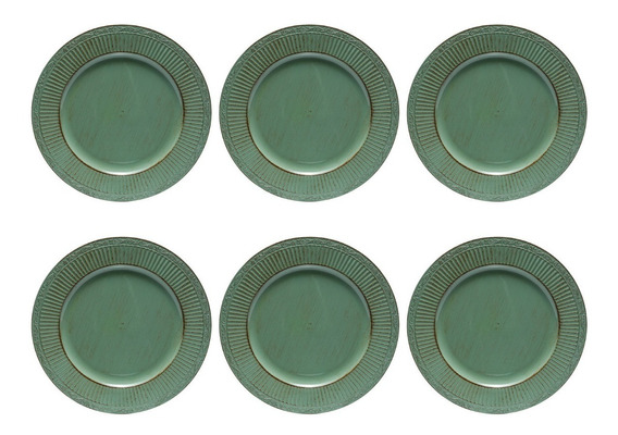 Jogo 6 Sousplat 33cm Verde Bon Gourmet Mesa Posta 30178