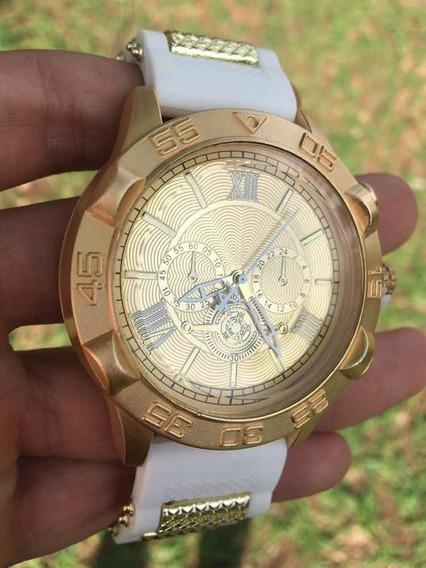 Relógio Masculino Branco E Dourado Estiloso Alta Qualidade
