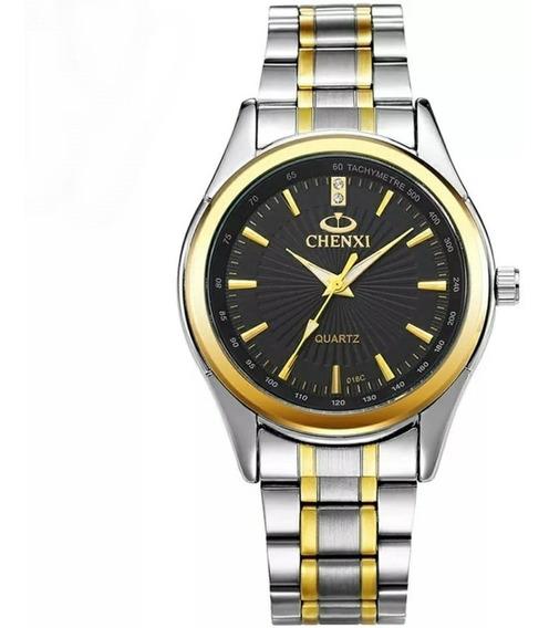 Relógio Masculino Prata Aço Inox Dourado Visor Preto