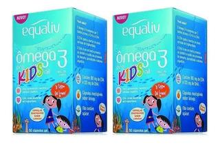 Ômega 3 Kids 60 Capsulas Equaliv 2 Potes +1 Omega 120 Caps