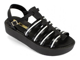 Sandalha Plataforma Moleca Facete/preto/branco Original