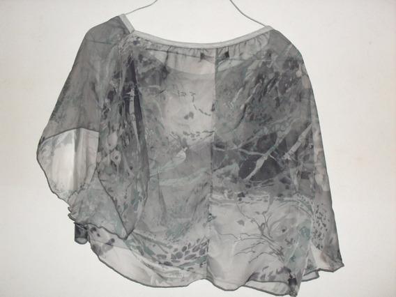 Remera Top Poncho Transparente Gris Para Mujer Vintage