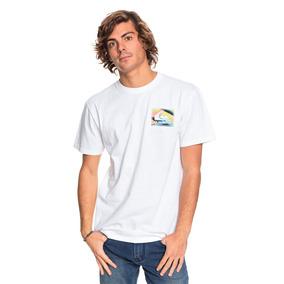 Playera Hombre Casual Blanco Estampado Logo Quiksilver