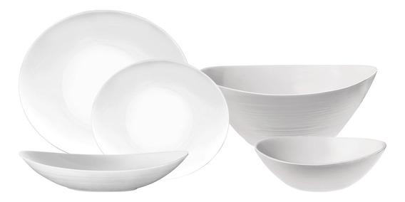 Set X25 Piezas Platos Vidrio Templado Opal Opalinos Ovalados