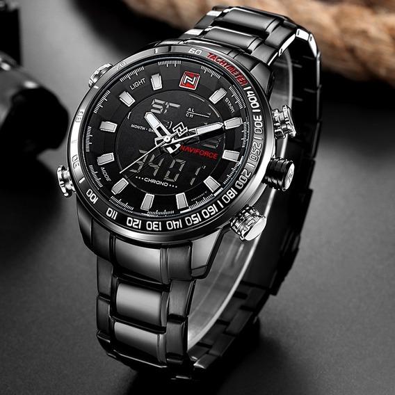 Relógio Masculino Naviforce Esportivo Digital Pulseira Aço
