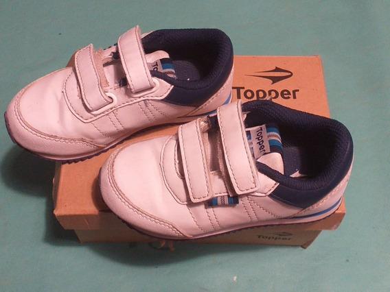 Zapatillas Blancas Topper Con Velcro T.24
