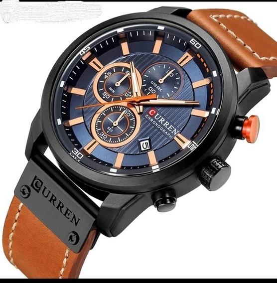 Relógio Curren Cronógrafo Funcional Original Couro E.114