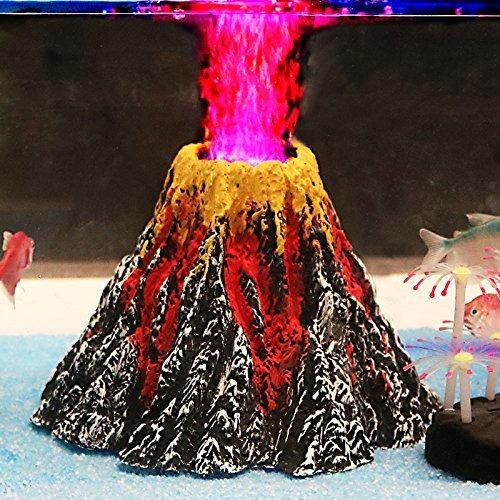 Kit De Ornamento Del Volcan Acuario De Uniclife Con Burbujas
