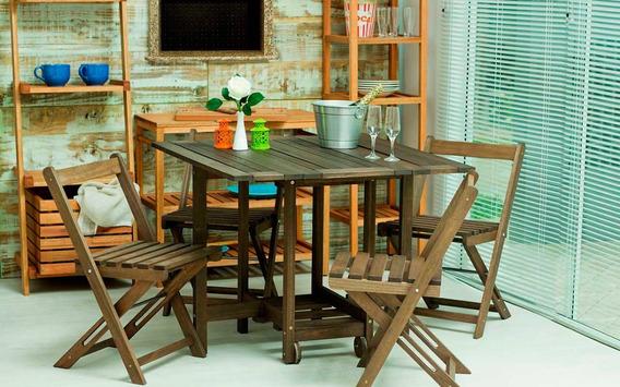 Conjunto 14 Bis - Mesa E 4 Cadeiras Dobráveis Cor Nogueira