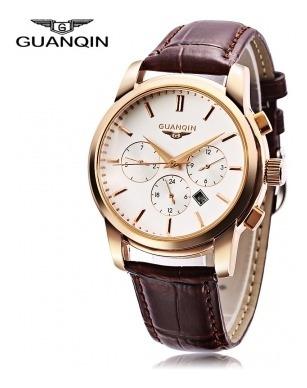 Relógio Masculino Guanqin Pulseira De Couro Genuíno Na Caixa