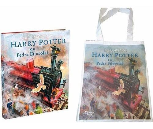Livro Harry Potter E A Pedra Filosofal Ilustrado + Sacola
