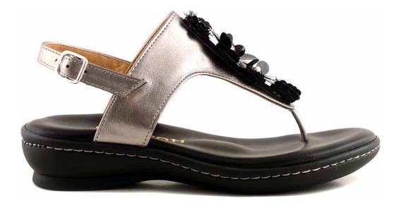 Sandal Cuero Briganti Zapato Mujer Ojota Goma - Mcoj03770
