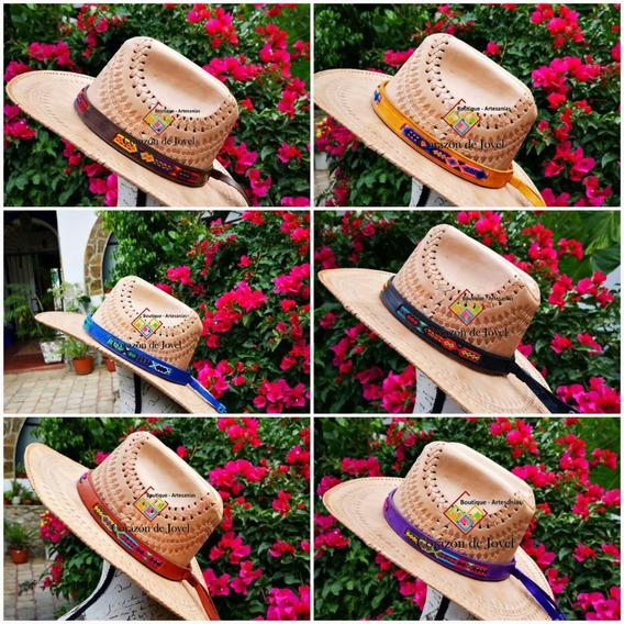 6 Tiras De Piel/cuero Bordadas Para Sombreros/artesanales