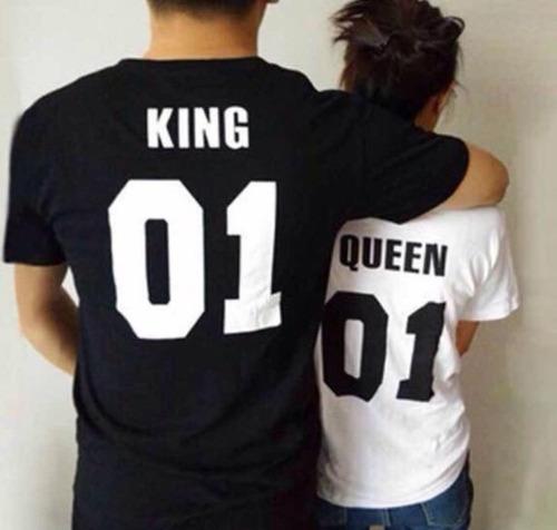 Polos Pareja King Queen  Regalos Parejas Novios Solteros Mde