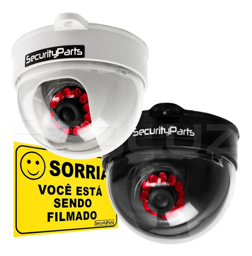 Imagem 1 de 7 de Câmera Segurança Dome Falsa  Infra Com Led Security Parts