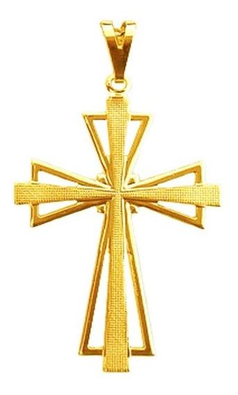 Pingente Masculino Crucifixo Cruz Trabalhado Folheado A Ouro