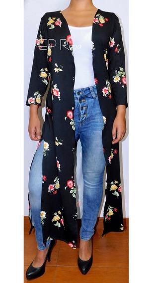 Kimono Largo Aberturas Flores Lunares Cardigan Abrigo Mujer