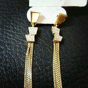 Brinco Feminino Modelo Franja Em Ouro 18k Com Brilhantes