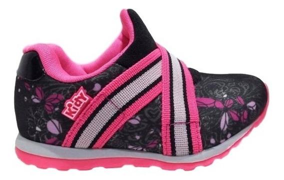 Tenis Menina Infantil Kidy Free Preto Pink Rosa 0306