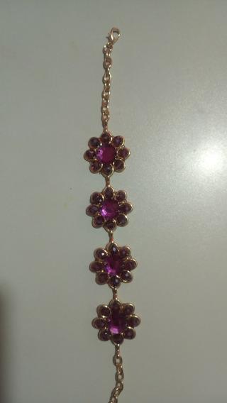 Pulsera Chapa D Oro Y Cristales Púrpura