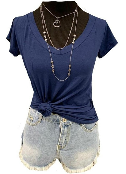 Kit Com 5 Blusa T Shirt Feminina Decote V Varias Cores