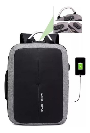 Mochila Antirrobo Backpack Portafolio Laptop Usb Candado