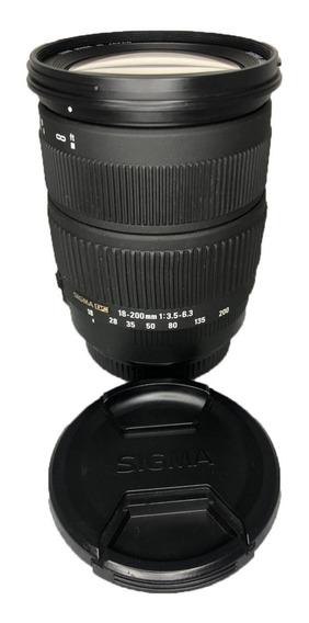 Lente 18-200mm Sigma 1:3.5-6.3 Para Canon Seminova Impecável
