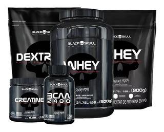 Whey Protein 1kg + 900g + Bcaa + Crea + Dextro - Black Skull