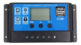 Controlador De Carga Solar 30a 12e24v Pwm C/ Lcd Usb