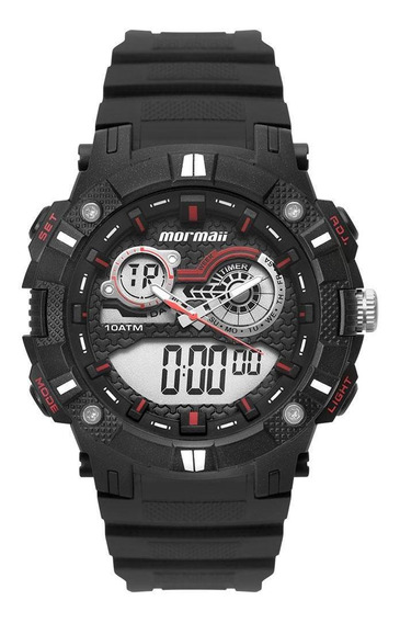 Relógio Masculino Mormaii Moad3781aa/8r 54mm Borracha Preto