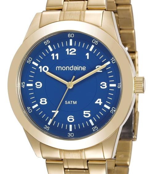 Relógio Mondaine Masculino Analógico Dourado Caixa Aço