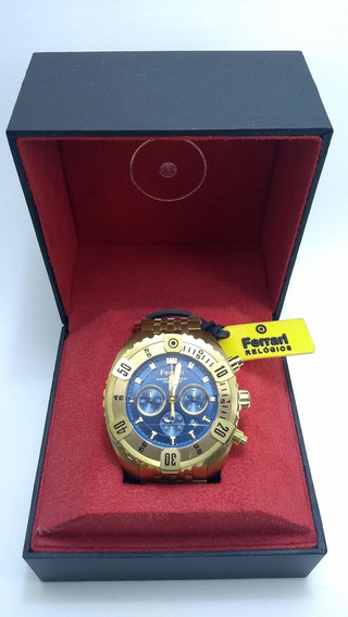 Relógio Ferrari Original Dourado Azul Cronógrafo Fer7303