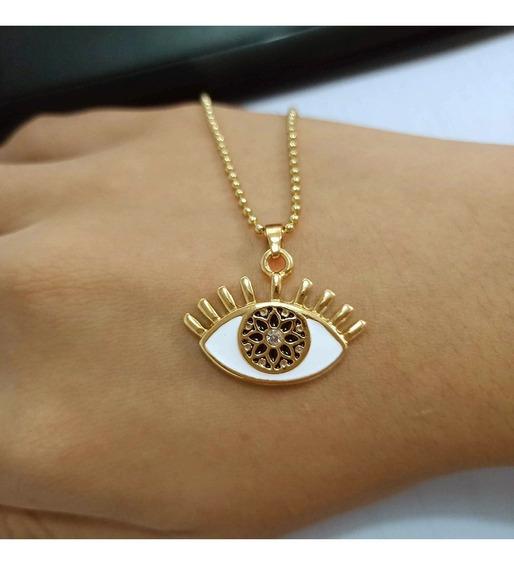 Collar De Ojo Turco Esmaltado Y Cristal, Amuleto Proteccion