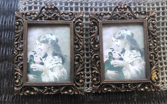 2 Grande Porta Retratos Antigos Metal