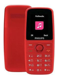 Celular Philips E108 Dual Sim Rádio Fm Vermelho Original