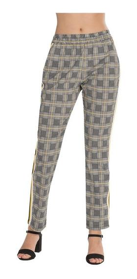 Pantalones Dama Casuales Cuadros Cinta Amarillo Moda W83112