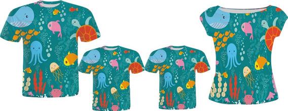 Blusa Pai, Vestido Mãe E Camisas Filhos - Fundo Do Mar 2