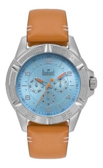 Relógio Dumont Prateado Multifunção Fundo Azul Du6p29ack/2a