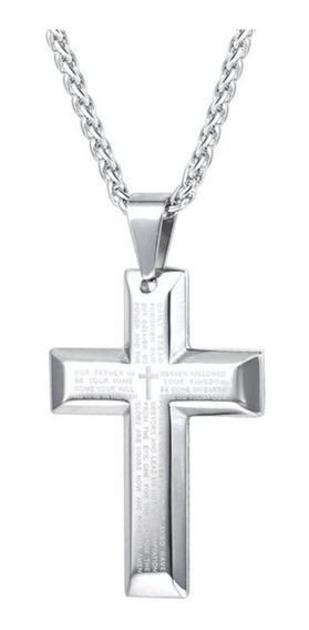 Cordão Corrente Crucifixo Masculino Oração Pai Nosso Açoinox