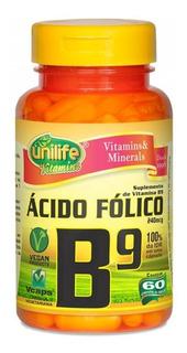 Vitamina B9 Ácido Fólico - 60 Cápsulas 500mg - Unilife