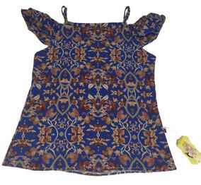 Blusa Azul Estampada Organza Feminina Juvenil M