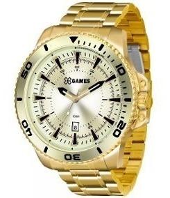 Relógio X-games Dourado Calendário Extra Grande Xmgs1024