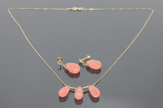 |1307| Conjunto Brincos, Colar Ouro Amarelo Quartzos Rosa