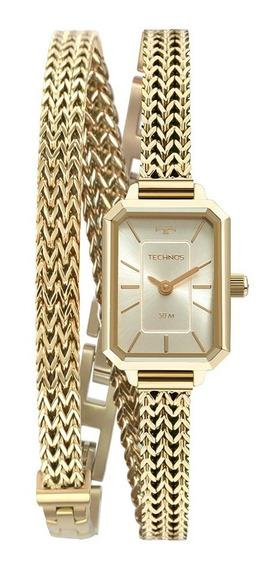 Relógio Technos Feminino Mini 5y20iv/1x Quadrado Dourado