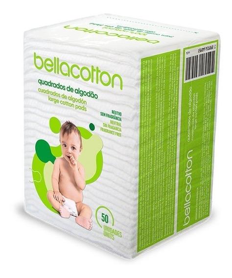 Algodão Quadrado Maxi Bebê Bellacotton 50 Unidades