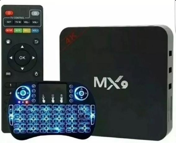 Tv Box Conversor Smart Tv 4k Mx9 Teclado Led 3 Cores